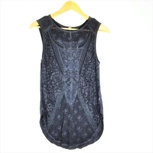 NWT Free People Black Lace Front Gothic Top